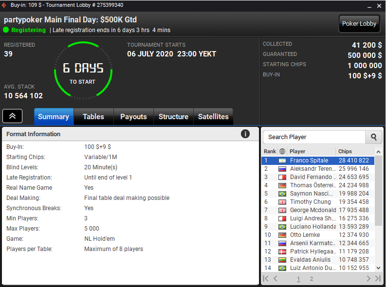 Partypoker main final day