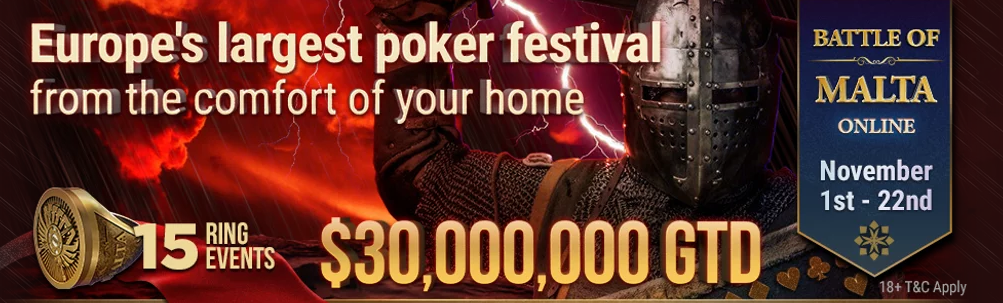 Battle of Malta tournament series with 30 million GTD at GGPoker